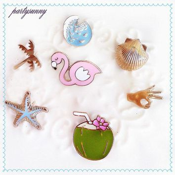 Pink Flamingo and Fiends Enamel Badge Button Pins