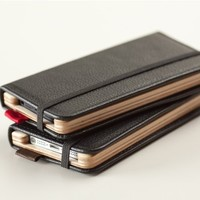Pad and Quill Handmade Little Pocket Book for iPhone 5 Brown/Forest Green