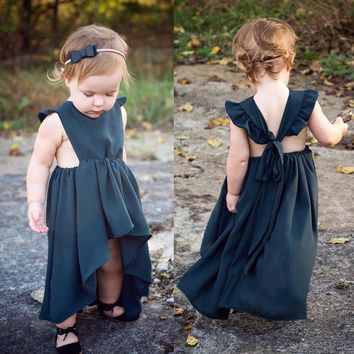 US Cute Toddler Kid Baby Girl Princess Dress Bridemaid Formal Long Dress Outfit