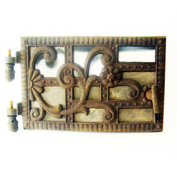Vintage StoveDoor, Ornamental Cast Iron, Mica Windows, Antique, 100 years or more