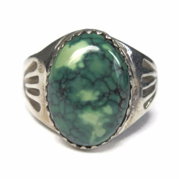 Vintage Navajo Sterling Green Turquoise Ring Size 8