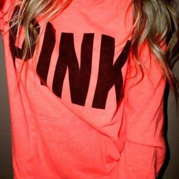 Pink Victoria S Secret Print Pattern Long Sleeve Hoodie Sweatshirt-1