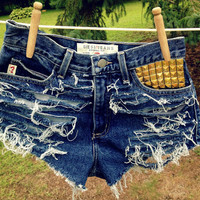 Guess jeans studded high waisted distressed by HerTelescopeEyes