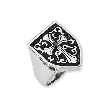 Stainless Steel And Black Diamond Cross Shield Ring