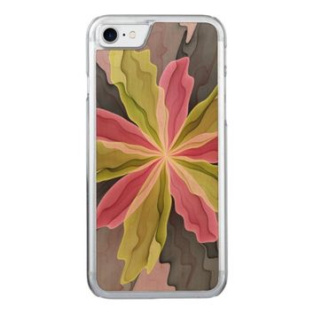 No Sadness, Joy, Fantasy Flower Fractal Art Carved iPhone 7 Case