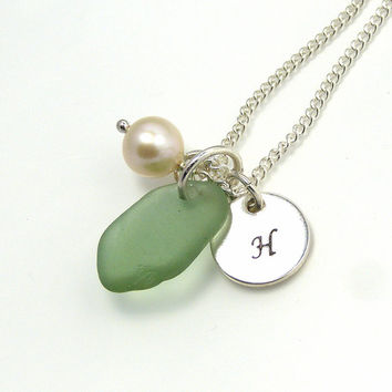 Personalized Green Sea Glass Necklace