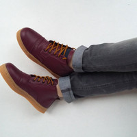 Purple leather shoes handmade Rangkayo casual sneakers US 9.5 women unisex ankle boots
