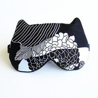 Ortental Print Eye mask, Sleep mask, eye sleep mask, Kitty eye mask, Cat eye mask, Kitty sleep mask-Black and white.