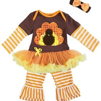 Baby Girl's Thanksgiving Turkey Outfit and Headband Set