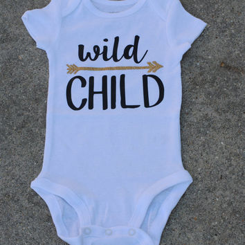 Wild Child Onesuit with Glitter for Baby Girl or Baby Boy Baby Girl Onesuit Baby Girl Gift Shower Gift Coming Home Outfit
