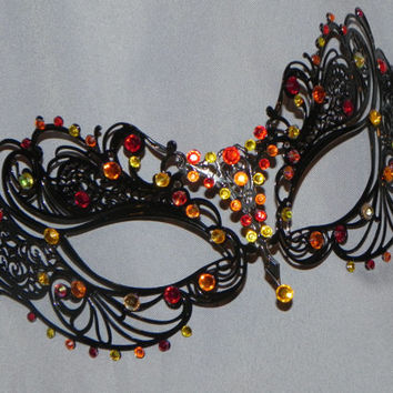 Red, Orange and Yellow Metallic Masquerade Mask - Fire Mask