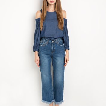 Dark Chambray Cut Out Shoulder Top