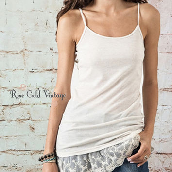Lace Extender Tank Tops - Oatmeal, Gray or Black (Ladies)
