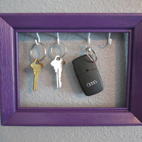 Purple Wooden Picture Fram Key Holder -Wall Frame Organizer