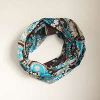 NEW Pasley Infinity Scarf,Loop Scarf, Circle Scarf, Cowl Scarf ,Soft scarf..Cotton scarf....Brown, Turquoise, white