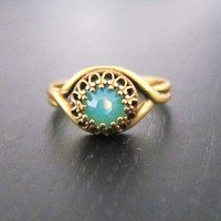 Turquoise Ring - Gold Antique Brass - Exotic Indie Bohemian