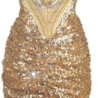 Meier Women's Gold Sequin Strapless Ruched Corset Cocktail Dress