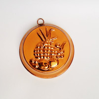 Vintage copper mold mould with fruit and pineapple depictions (1960s-1970s)