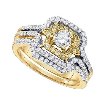 14kt Yellow Gold Women's Yellow Diamond Round Bridal Wedding Engagement Ring Band Set 3/4 Cttw - FREE Shipping (US/CAN)