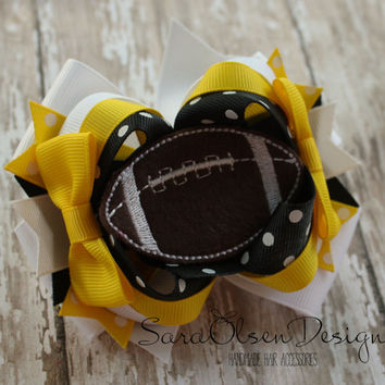 Football Hairbow, Over the Top Hairbow, Yellow Gold White and Black, Hawkeyes, Iowa Hairbow, Pittsburg Steelers, Hair Clip, Girls Hairbow