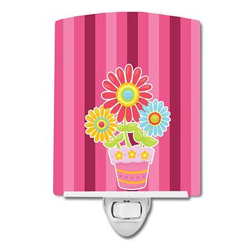 Flower Pot Pink Ceramic Night Light BB9057CNL