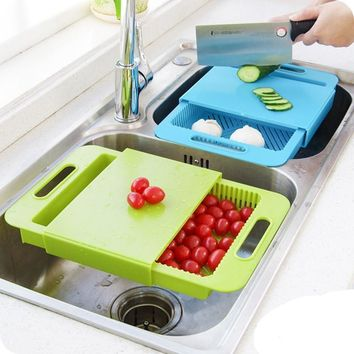 Free Shipping - 3 In 1 Kitchen sink cutting board removable chopping blocks