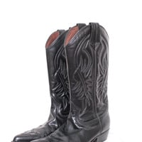 Vintage Guess Jeans Black Leather Embroidered Cowboy Boots Size 7 1/2 M