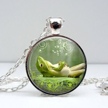 Lazy Frog Necklace - Happy Smiling Green Frog Toad Unique Art Nature