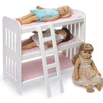 White Slatted Doll Bunk Bed for Three