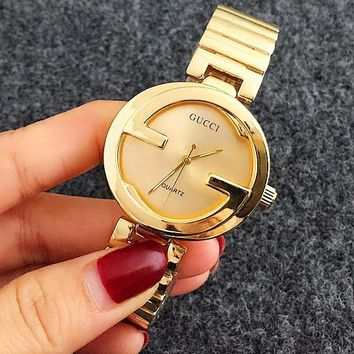 Gucci Woman Men Fashion Print Watch Business Watches Wrist Watch Rose Golden