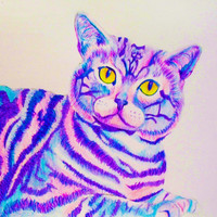 Cheshire Cat Print (Trippy psychedelic Alice in Wonderland Cat in purple, blue, yellow and pink colored pencil)