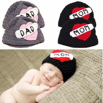 Cartoon Cute Winter Newborn Love Mom Heart Pattern Handmade Elastic Baby Cap Knitted Hat
