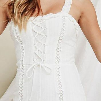 Pretty Pleasing White Sleeveless Ruffle Lace Up Smocked Bodycon Casual Mini Dress