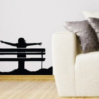Wall Decals Girl Sitting on Bench Decal Vinyl Sticker Home Decor Bedroom Interior Window Decals Art Murals Chu1318