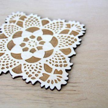 square doily coasters with natural woodgrain