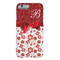 Elegant Red Floral on Red glitter Phone 6 Case