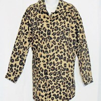 Roamans Top Shirt Animal Print Size Large Brown Black