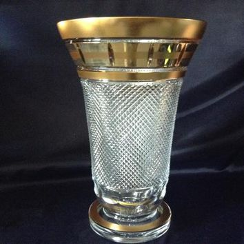 Czech bohemia crystal glass - Cut Vase 31-36cm decorated double gold
