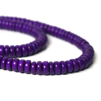 Wood Rondelle Beads, purple 8mm x 4mm eco-friendly wooden beads (1099R)