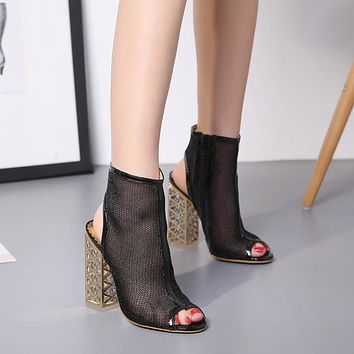 Hollow Out Transparent Peep Toe High Chunky Heel Sandals