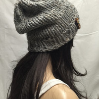 Knit Slouchy Hat Beanie Gray Tweed With Wood Buttons Warm And Cozy