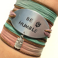 Be Humble Silk Wrap Bracelet Yoga Jewelry Owl Wisdom Unique Gift For Her or Him Teacher Christmas Stocking Stuffer Under 50 Item K60