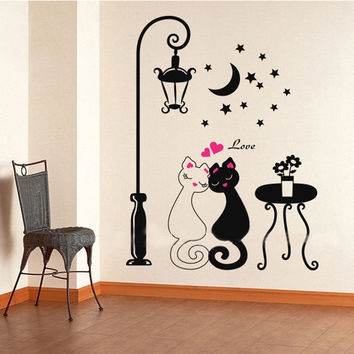 Cute Couples Cats Cartoon Wall Sticker Kids Children's Room Decor H10326 Home & Outdoors = 1929589060