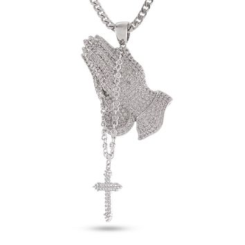 The White Gold Rosary Praying Hands Necklace
