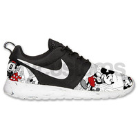 Free Shipping -- Nike Roshe Run Black Marble Vintage Comic Mickey + Minnie V5 Edition Custom Men & Women