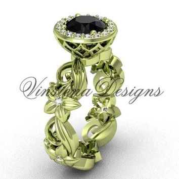 14kt yellow gold diamond leaf and vine, floral engagement ring, Black Diamond VF301001
