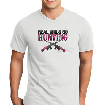 Real Girls Go Hunting Adult V-Neck T-shirt