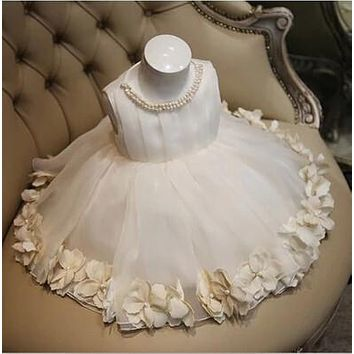 Real Image Ball Gown Tulle Pearl Flower Girl Dresses Kids Weddings 2016 First Communion Dresses Pageant Dresses for little girls