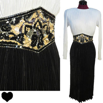 Dress Vintage 80s White Black Fortuny Pleats SEQUIN Cocktail Party Dress S Long Sleeve