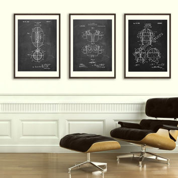 Trio of Football Patent Posters - Original Patents - Vintage Print - Patent Print - Patent Poster - Vintage Wall Art